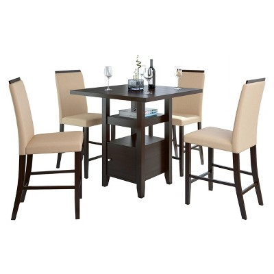 5 Piece Bistro Counter Height Cappuccino Dining Set   CorLiving