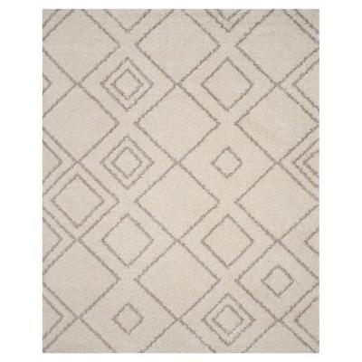 Ivory/Beige Abstract Shag/Flokati Loomed Area Rug - (8'X10')- Safavieh