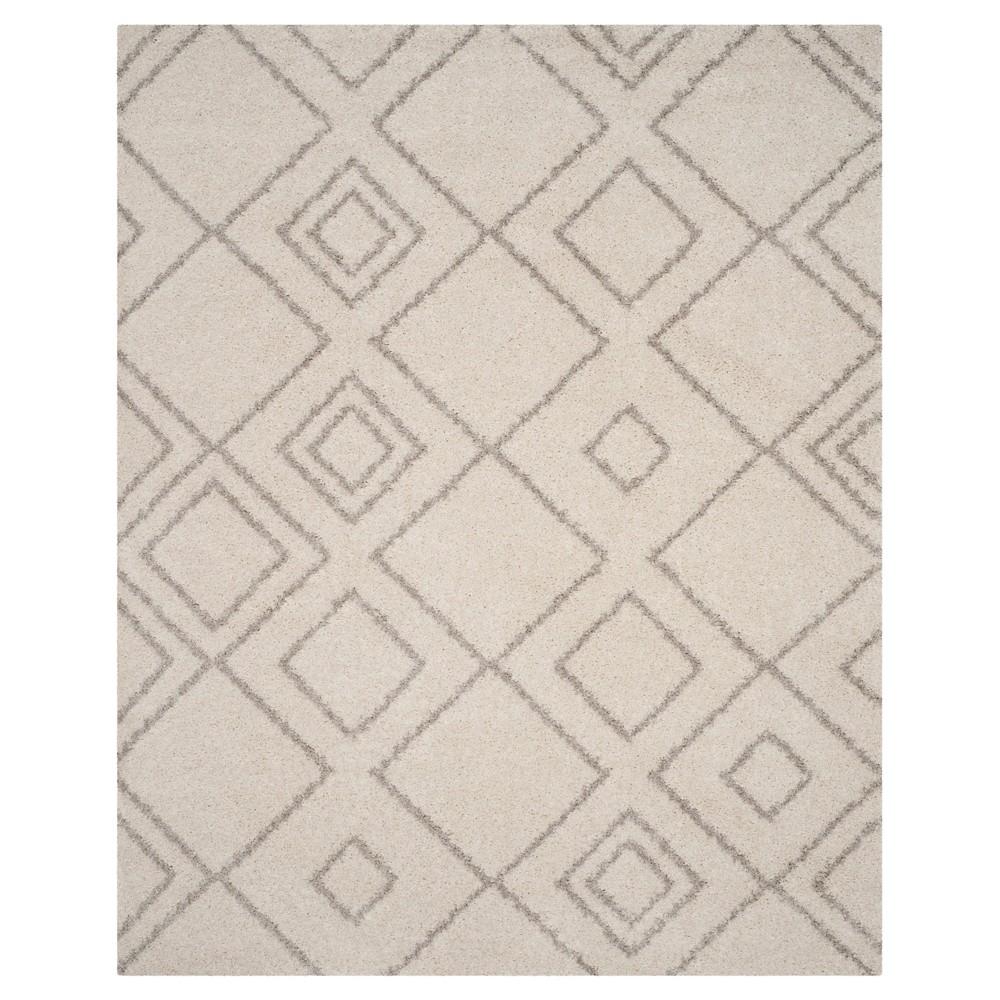 Ivory/Beige Abstract Shag/Flokati Loomed Area Rug - (9'X12') - Safavieh