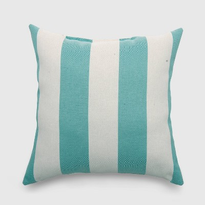 Square Cabana Stripe Outdoor Pillow Turquoise - Threshold™