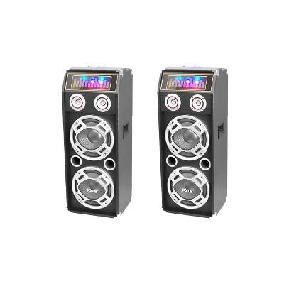 Pyle PSUFM1035A Disco Jam 1000 Watt 2 Way DJ Bluetooth Karaoke Party Speaker with 3 Color Changing Flashing LED Disco Lights (2 Pack)