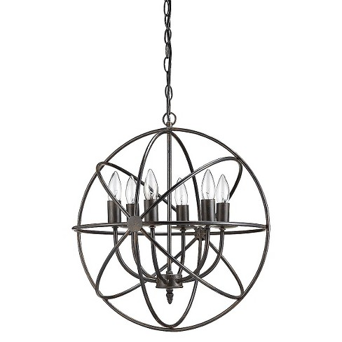 Round Metal Chandelier with 6 Lights - Black - image 1 of 1