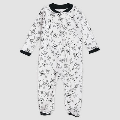 Honest Baby Baby Tossed Skulls Organic Cotton Pajama Jumpsuit - Black/White Newborn