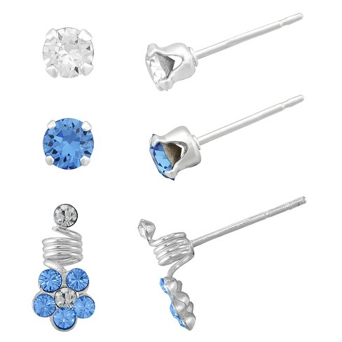 Girls' Sterling Silver 3 Pr Crystal Studs(2) & Flower Earring Set-White/Sapphire-4Mm - image 1 of 1