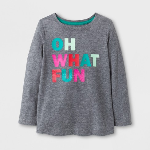 Toddler Girls' Oh What Fun Long Sleeve T-Shirt - Cat & Jack™ Gray 18M - image 1 of 1