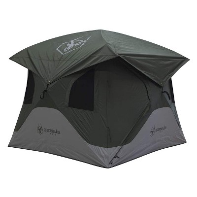 Gazelle T3X GT301GR 3 Person Pop Up Lightweight Portable 3 Season Camping Hub Tent with Easy Setup, Storage Pockets, and Gear Loft, Alpine Green
