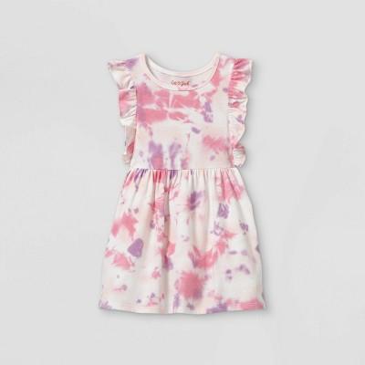 Toddler Girls' Tie-Dye Ruffle Short Sleeve Dress - Cat & Jack™ Pink/Purple 18M