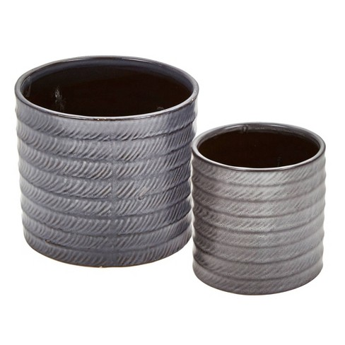 2pc Ceramic Planters Black - Sagebrook Home - image 1 of 4