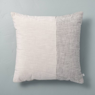 "18"" x 18"" Textured Colorblock Square Throw Pillow Gray - Hearth & Hand™ with Magnolia"
