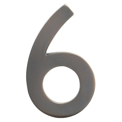 """Architectural Mailbox 4"""" Cast Floating House Number 6 Dark Copper"""
