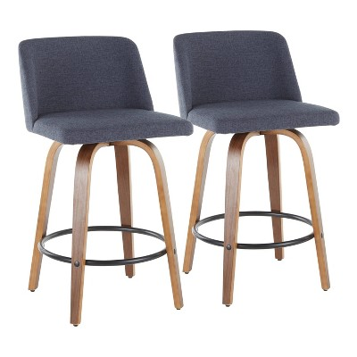 Set of 2 Toriano Mid-Century Modern Counter Height Barstools - LumiSource