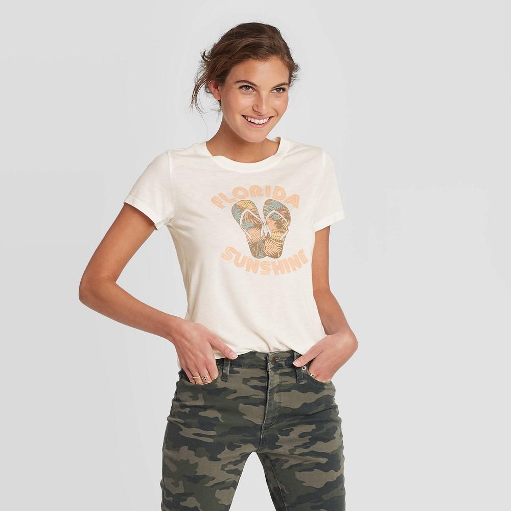 Women 39 S Short Sleeve Florida Sunshine Sandals Graphic T Shirt Awake White Xl