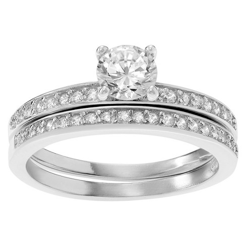 3/4 CT. T.W. Round-cut Cubic Zirconia Thin Bridal Prong Set Ring Set in Sterling Silver - Silver - image 1 of 2