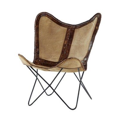 Rustic Canvas and Leather Butterfly Accent Chair - Olivia & May