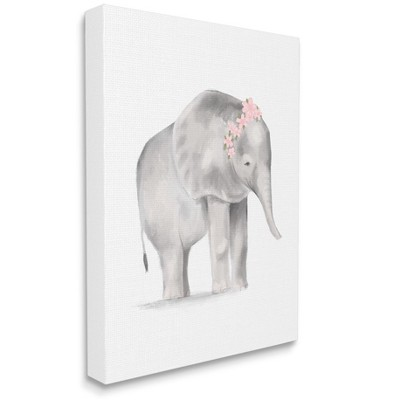 Stupell Industries Floral Crown Baby Elephant Soft Pink Grey Illustration