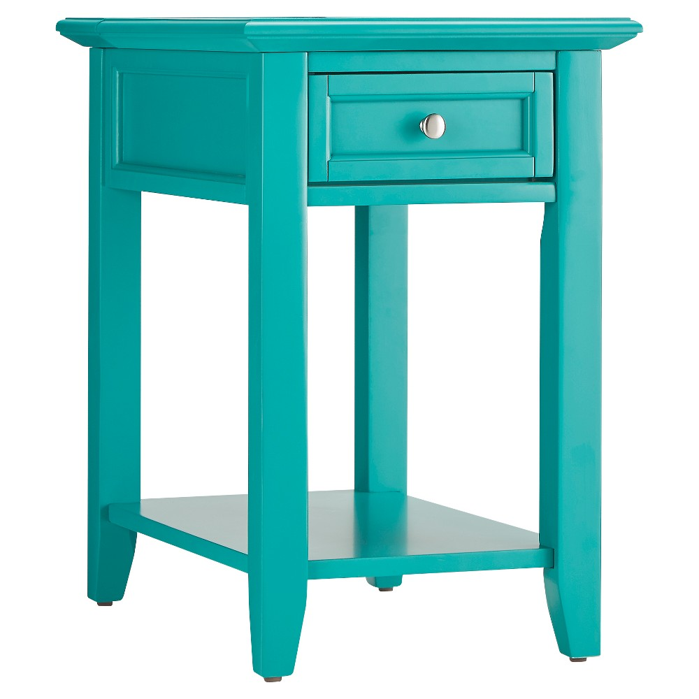 Resnick Accent Table with Hidden Outlet - Seafoam - Inspire Q
