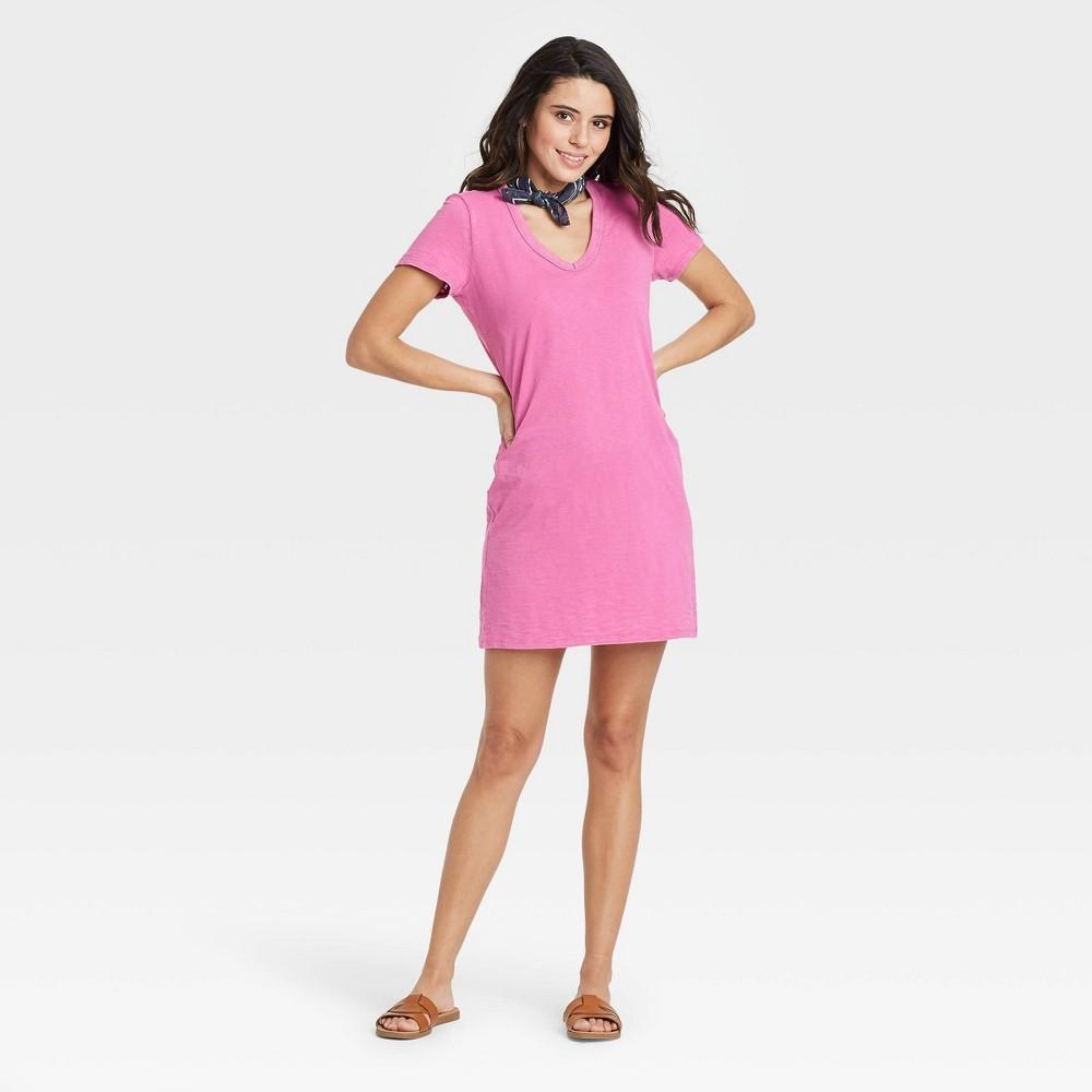 Women 39 S Short Sleeve T Shirt Dress Universal Thread 8482 Pink Xs
