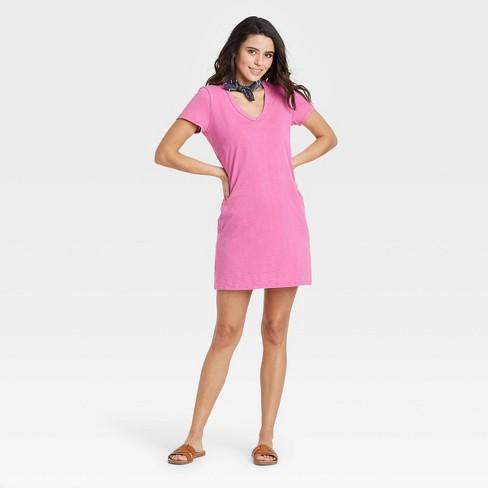 Women's Short Sleeve T-Shirt Dress - Universal Thread™ Pink M