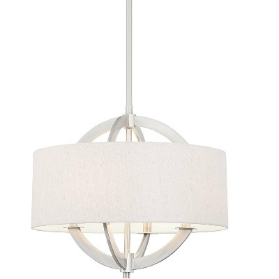 "Possini Euro Design Brushed Nickel Drum Pendant Chandelier 21"" Wide Modern Oatmeal Linen Shade 4-Light Fixture for Dining Room"