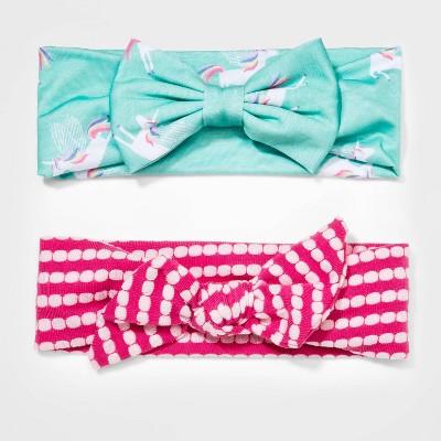 Girls' 2pk Dot Print Knit Headband - Cat & Jack™ Aqua/Pink
