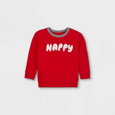 Toddler Boys' Valentine's Day Happy Fleece Pullover Sweatshirt with Elbow Patches - Cat & Jack™ Red