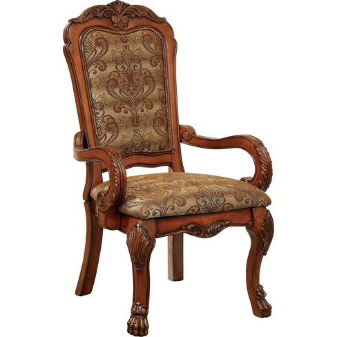 ioHomes Lion Claw Elegant Carved Arm Chair Wood/Antique Oak (Set of 2) - IoHomes Lion Claw Elegant Carved Arm Chair Wood/Antique Oak (Set Of