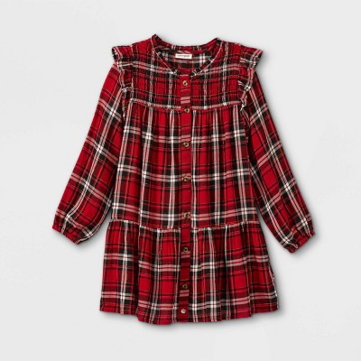 Girls' Plaid Woven Long Sleeve Dress - Cat & Jack™
