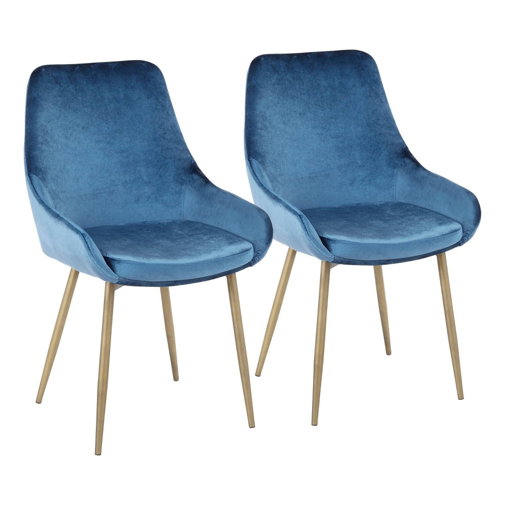 Set of 2 Diana Contemporary Chair Satin Brass/Blue Velvet - LumiSource