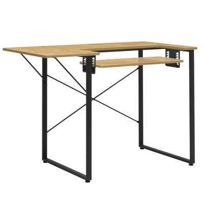 Sew Ready 13406 Dart Wood/Metal Multipurpose Sewing Machine Table Workstation Desk w/ Folding Top for Crafts, Sewing, Laptops, Charcoal Black/Ashwood