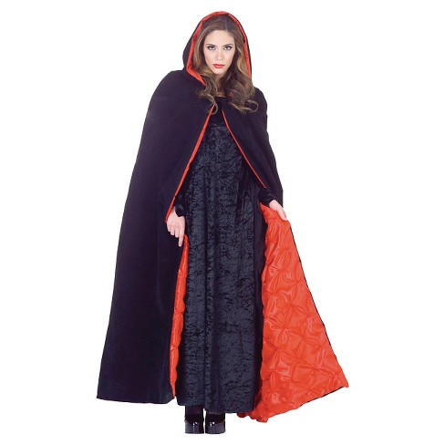 "Adult Costume Cape Deluxe Hooded Velvet Black 63"" - One Size Fits Most - image 1 of 1"