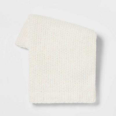 Solid Chenille Knit Throw Blanket Cream - Threshold™