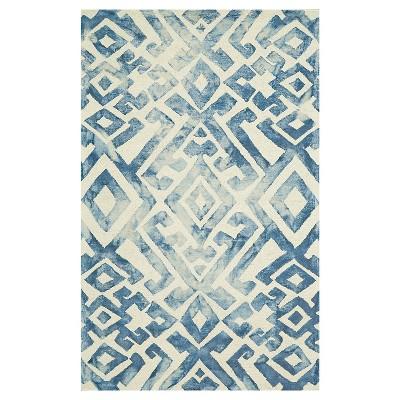 Midnight Blue Geometric Hooked Area Rug - (5'X8') - Weave & Wander