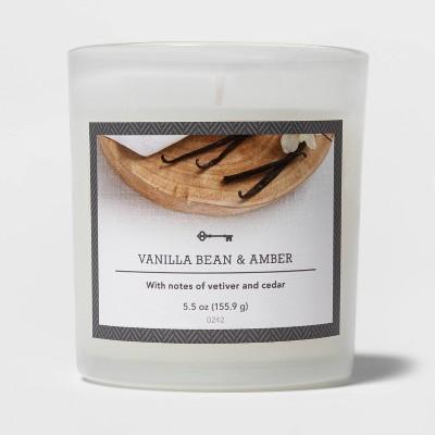 5.5oz Glass Jar Vanilla Bean and Amber Candle - Threshold™