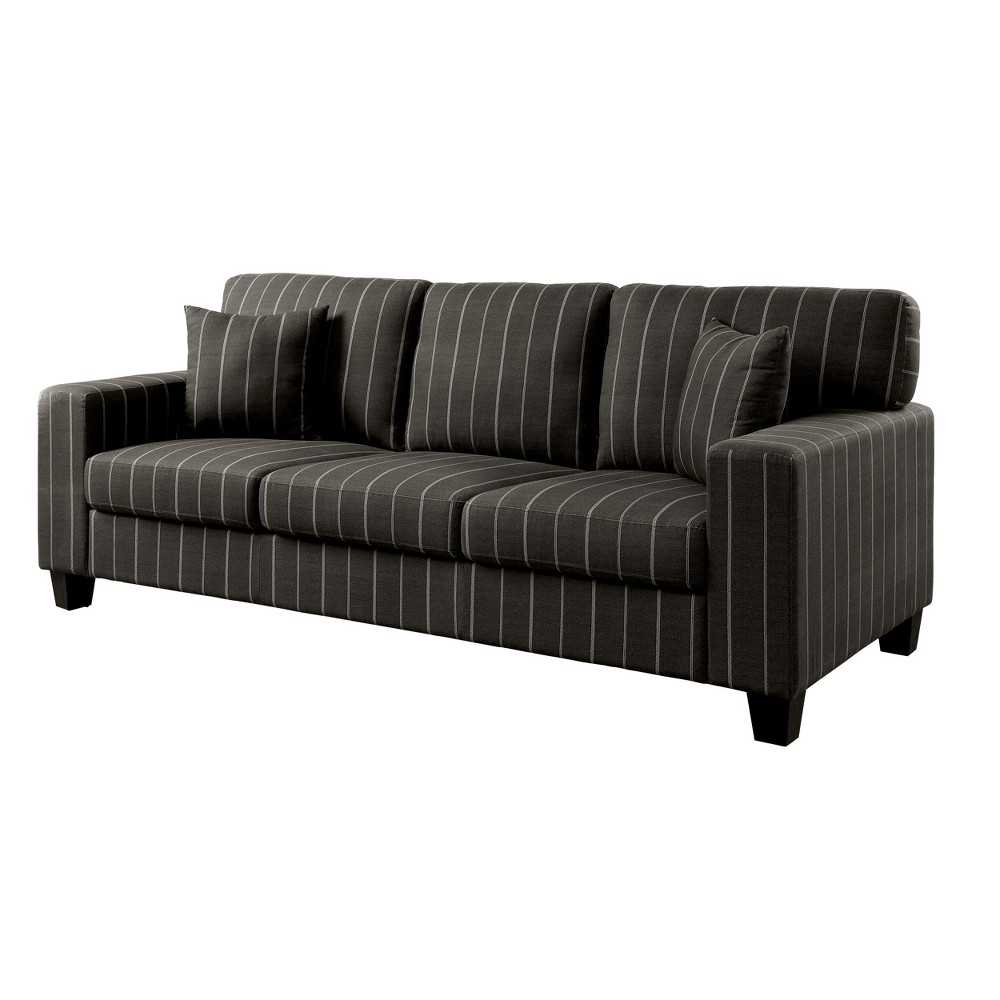 Sofas Dark Gray - miBasics A fashion inspired design makes this Nova Pinstriped Sofa a chic update to your living room. The vertical stripes enhance the straight lines of this appealing sofa. Color: Dark Gray. Gender: Unisex.