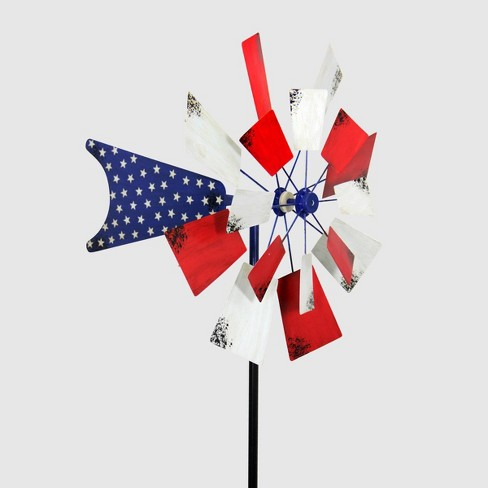 """85"""" Resin Kinetic Patriotic Windmill Garden Stake Red - Exhart - image 1 of 1"""
