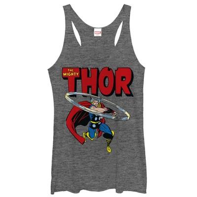 Women's Marvel Mighty Thor Hammer Swing Racerback Tank Top