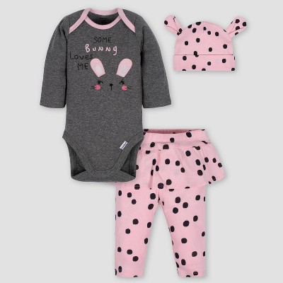Gerber Baby Girls' 3pc Bunny Bodysuit Skirted Pants & Cap Set - Gray/Pink 3-6M