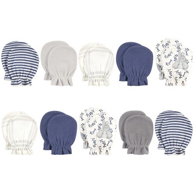Touched by Nature Baby Boy Organic Cotton Scratch Mitten 10pk, Blue Elephant, One Size