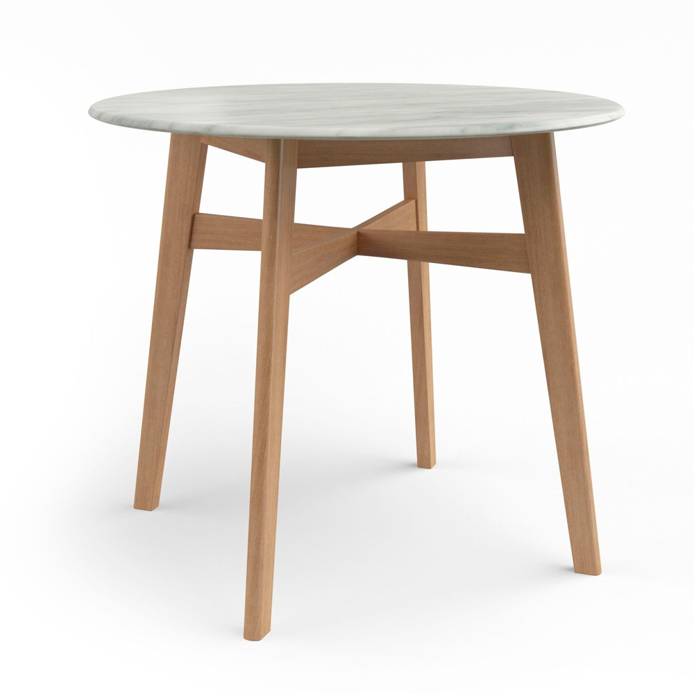 50 Elysian Round Dining Table with Faux Marble Top Natural - Aeon