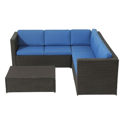 4pc Wicker Rattan Patio Sofa Set with Blue Cushions - Accent Furniture