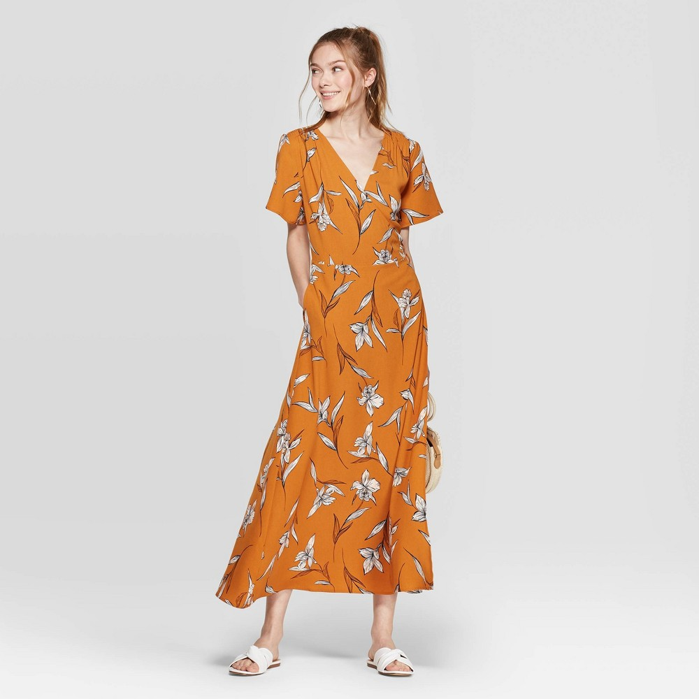 Image of Women's Floral Print Short Sleeve V-Neck Maxi Wrap Dress - A New Day Rust XL, Red