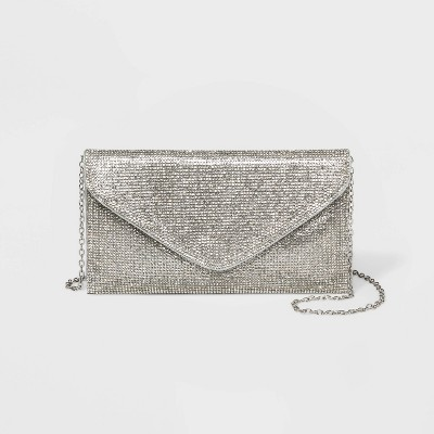 Estee & Lilly Fully Crystal Envelope Clutch - Silver