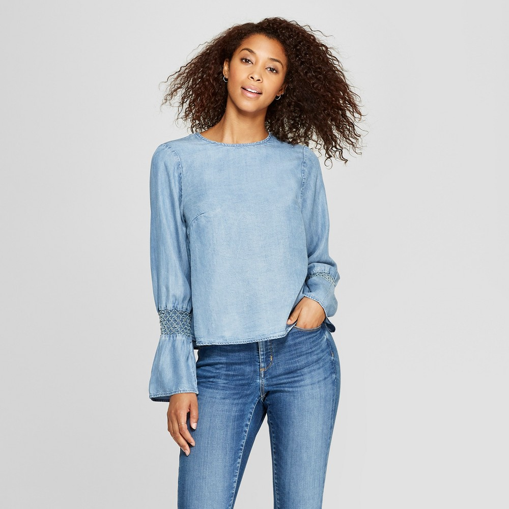Women's Long Sleeve Interest Top - Universal Thread Blue XL