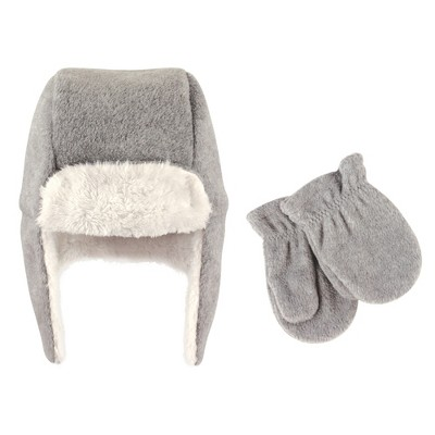 Hudson Baby Toddler Fleece Trapper Hat and Mitten 2pc Set, Heather Gray