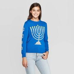 Women's Menorah Light Up Long Sleeve Sweater (Juniors') - Blue