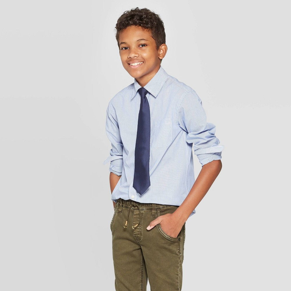 Image of Boys' Long Sleeve Button-Down Shirt - Cat & Jack Blue XL, Boy's, White Blue
