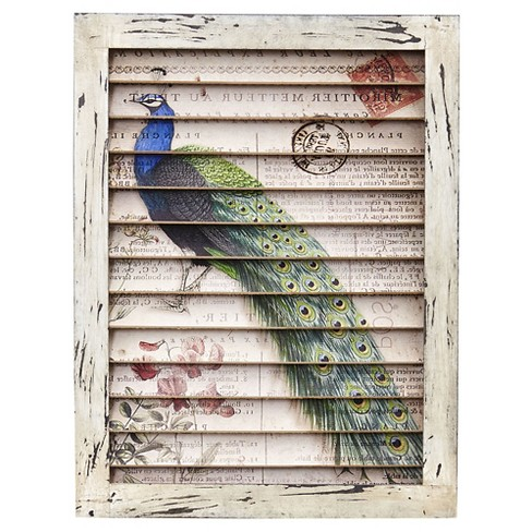 Peacock Window Shutter Wall Décor - Nearly Natural - image 1 of 2