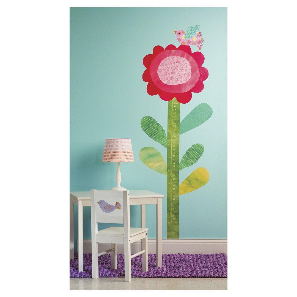 Image of Big Flower Peel & Stick Growth Chart 2 Sheets - Wallies