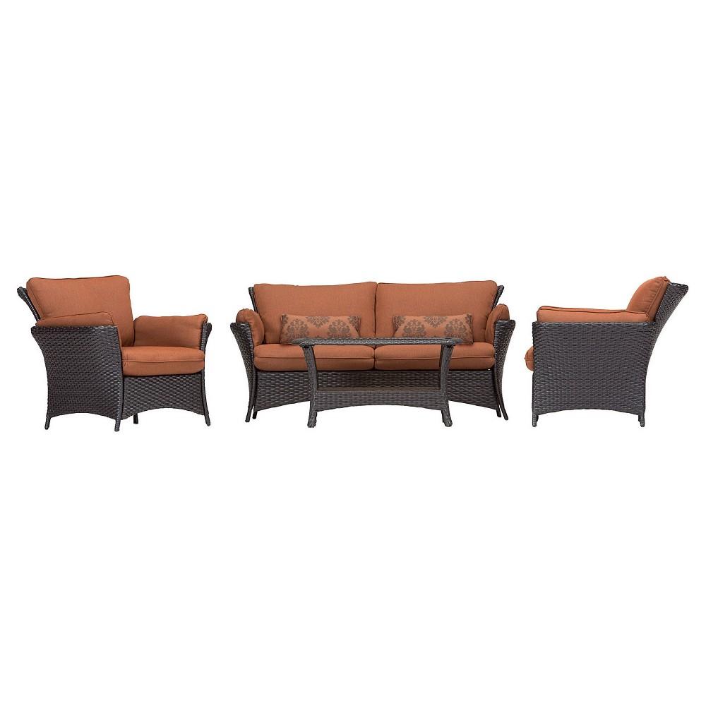 Hanover Strathmere Allure 4-Piece Lounge Set, Red