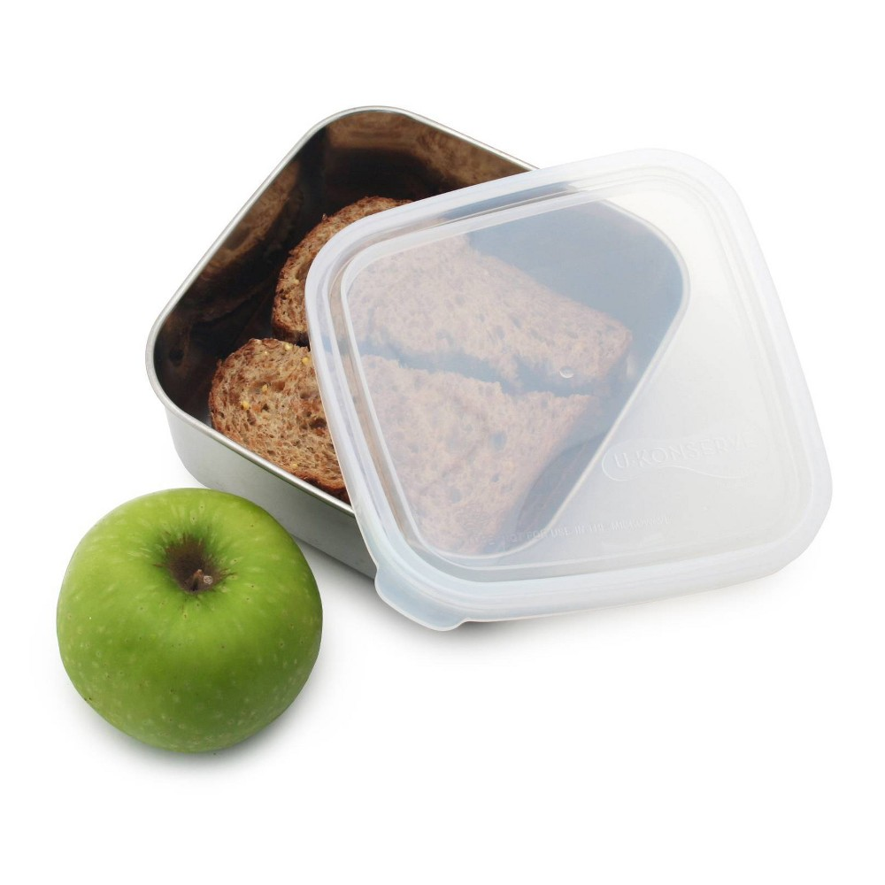U Konserve To Go Stainless Steel Food Storage Container Square 30oz Clear 160 Plastic Lid